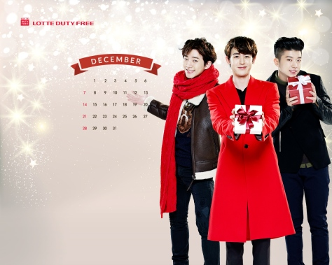 PICS] 2PM – Lotte Duty Free December 2014 Wallpaper Calendar