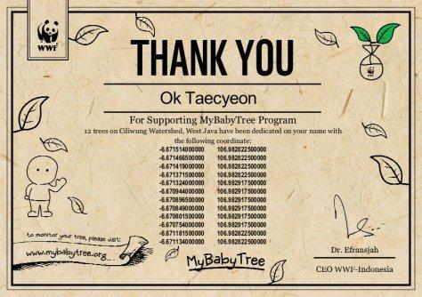 E-Certificate Ok Taecyeon