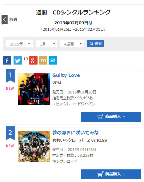 INFO] 150204 2PM 'Guilty Love' #1 on Oricon Weekly Single Chart